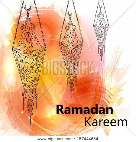 Illustration of Ramadan kareem and Ramadan mubarak. beautiful watercolor of lantern. traditional greeting card wishes holy month moubarak and karim for muslim.