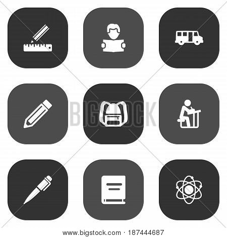 Set Of 9 Studies Icons Set.Collection Of Drawing Tool, Molecule, School Autobus And Other Elements.