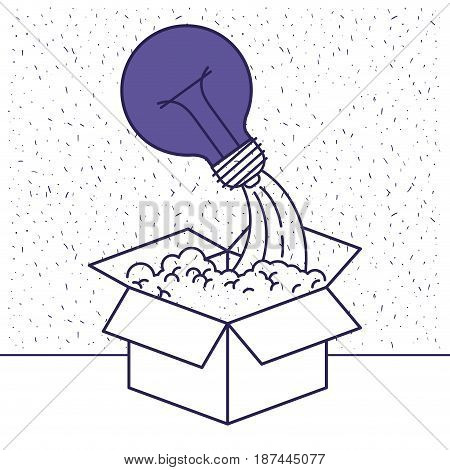 white background with blue silhouette with cardboard box and light bulb vector illustration