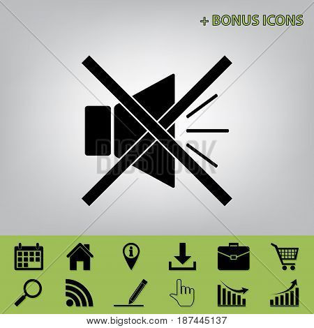 Sound sign illustration with mute mark. Vector. Black icon at gray background with bonus icons at celery ones