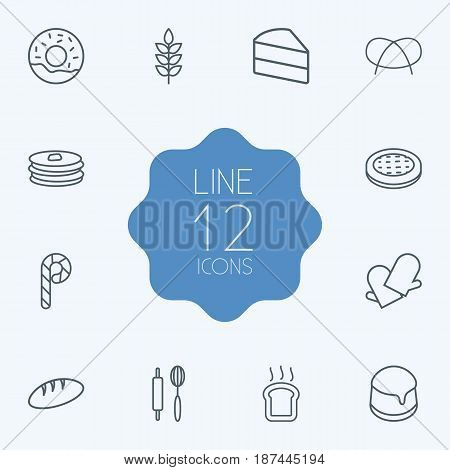 Set Of 12 Cook Outline Icons Set.Collection Of Bread, Wheat, Apple Pie And Other Elements.