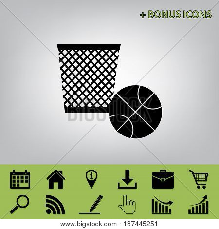 Trash sign illustration. Vector. Black icon at gray background with bonus icons at celery ones
