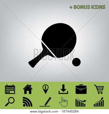 Ping pong paddle with ball. Vector. Black icon at gray background with bonus icons at celery ones