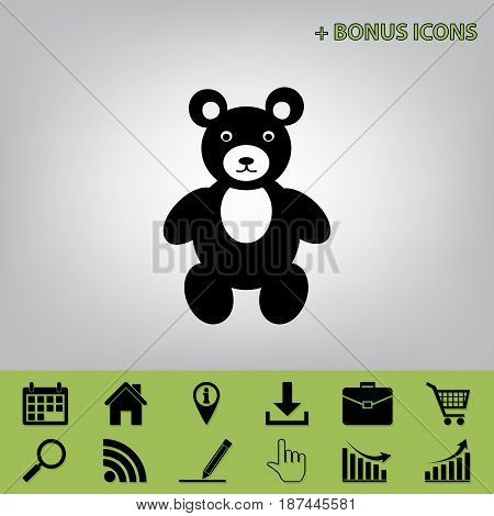 Teddy bear sign illustration. Vector. Black icon at gray background with bonus icons at celery ones