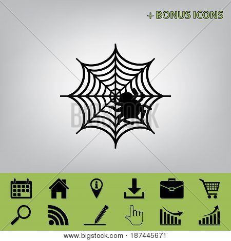 Spider on web illustration. Vector. Black icon at gray background with bonus icons at celery ones