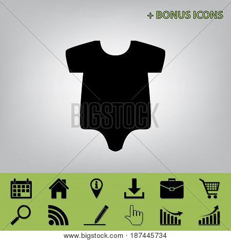 Baby cloth illustration. Vector. Black icon at gray background with bonus icons at celery ones