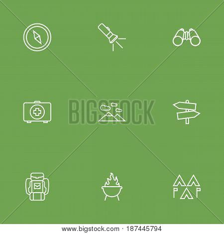 Set Of 9 Outdoor Outline Icons Set.Collection Of Encampment, Binoculars, Compass And Other Elements.