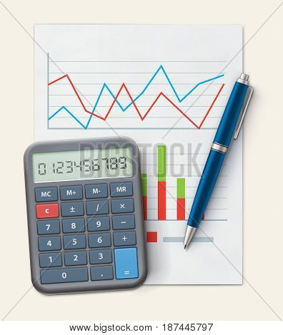 Vector illustration of business concept with finance graphs productivity chart blue ballpoint pen and electronic calculator