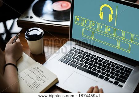 Music media headphones keyboard graphic