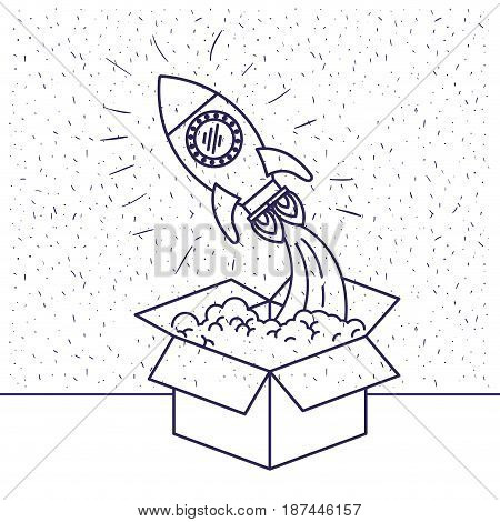 white background with blue silhouette of space rocket coming out of the box vector illustration