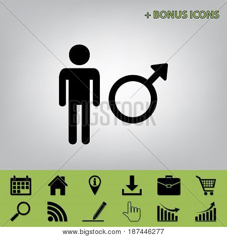 Male sign illustration. Vector. Black icon at gray background with bonus icons at celery ones