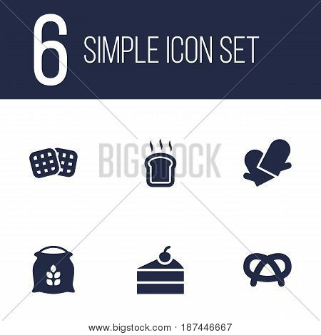 Set Of 6  Icons Set.Collection Of Potholders, Snack, Sweetmeat And Other Elements.