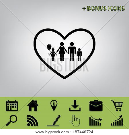Family sign illustration in heart shape. Vector. Black icon at gray background with bonus icons at celery ones