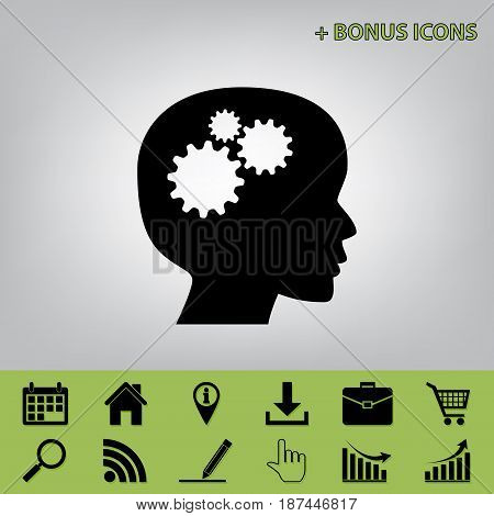 Thinking head sign. Vector. Black icon at gray background with bonus icons at celery ones