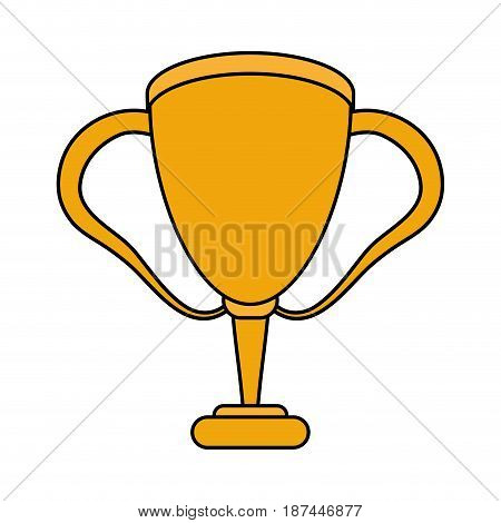 color image cartoon golden cup trophy with double handles vector illustration