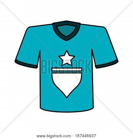 color image cartoon blue soccer t-shirt sport wear vector illustration