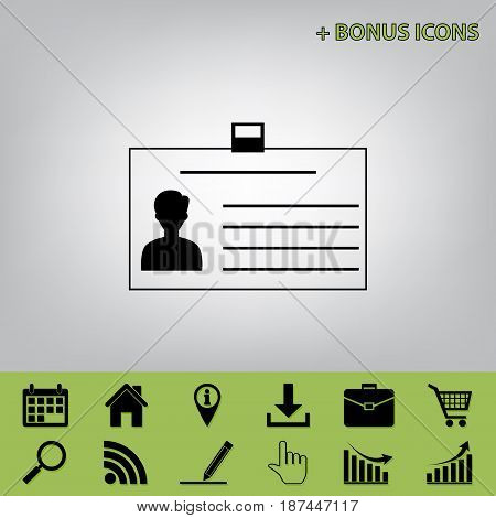 Identification card sign. Vector. Black icon at gray background with bonus icons at celery ones