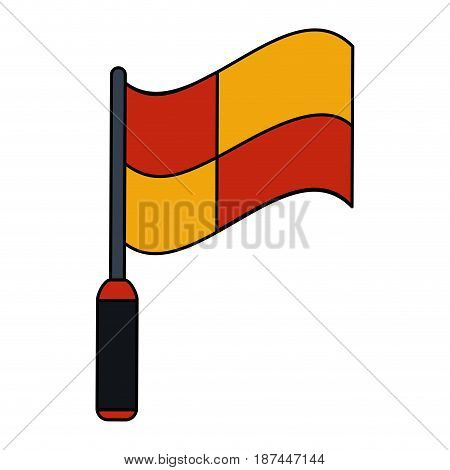 color image cartoon red and yellow checkered flag vector illustration