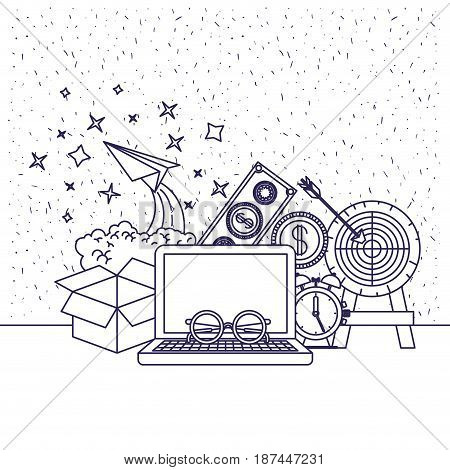 white background with blue silhouette of computer and clock and paper plane and money vector illustration