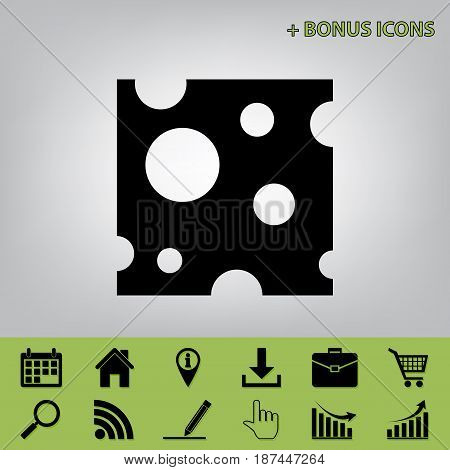 Cheese slice sign. Vector. Black icon at gray background with bonus icons at celery ones