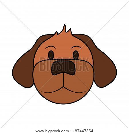 color image cartoon front view face dog animal vector illustration
