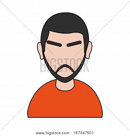 color image cartoon half body faceless man with moustache and eyebrows vector illustration