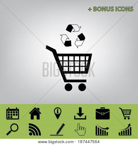 Shopping cart icon with a recycle sign. Vector. Black icon at gray background with bonus icons at celery ones