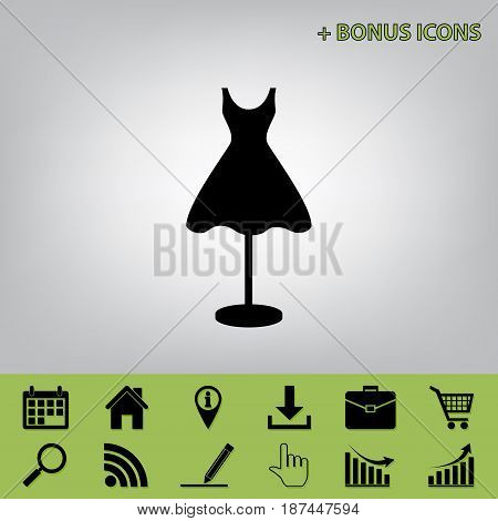 Mannequin with dress sign. Vector. Black icon at gray background with bonus icons at celery ones