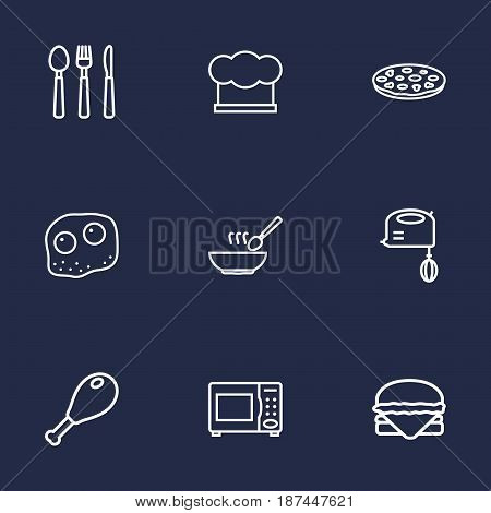 Set Of 9 Cooking Outline Icons Set.Collection Of Cutlery, Pizza, Hat And Other Elements.