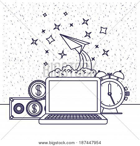 white background with blue silhouette of computer and clock and paper plane and money in closeup vector illustration