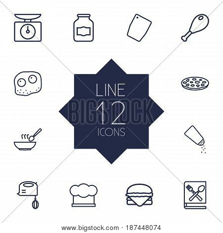 Set Of 12 Culinary Outline Icons Set.Collection Of Pizza, Omelette, Mixer And Other Elements.