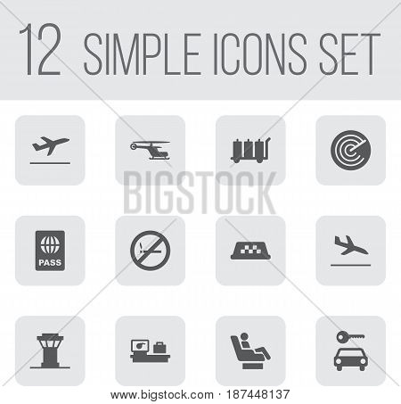 Set Of 12 Airplane Icons Set.Collection Of Chopper, Letdown, Passport And Other Elements.