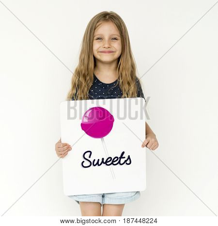 Girl with illustration of sweet candy lollipop