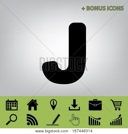 Letter J sign design template element. Vector. Black icon at gray background with bonus icons at celery ones