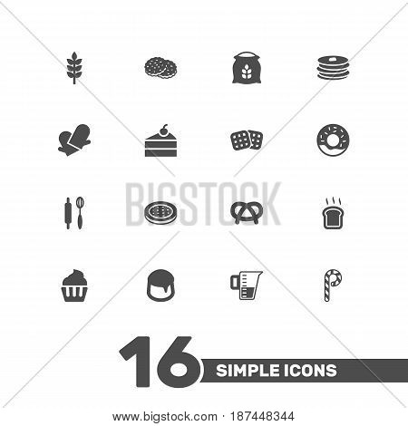 Set Of 16 Oven Icons Set.Collection Of Crepe, Striped Lollipop, Whisk And Other Elements.