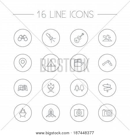 Set Of 16 Adventure Outline Icons Set.Collection Of Rubber Boat, Guidepost, Penknife And Other Elements.