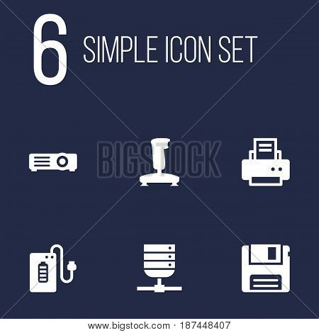 Set Of 6 Computer Icons Set.Collection Of Supply, Diskette, Joystick And Other Elements.