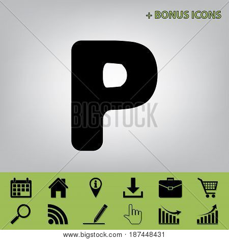 Letter P sign design template element. Vector. Black icon at gray background with bonus icons at celery ones