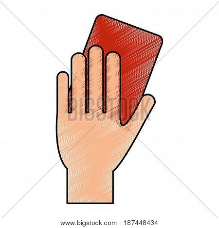 color pencil cartoon hand with red card vector illustration