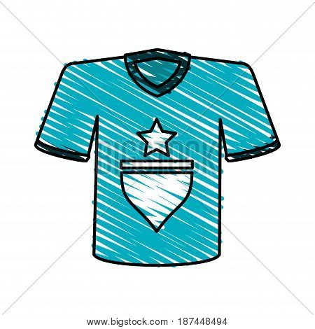 color crayon stripe cartoon blue soccer t-shirt sport wear vector illustration