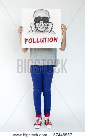 Hands holding banner covering face network graphic overlay