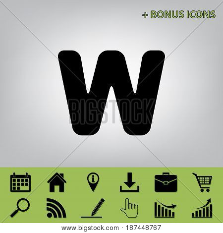 Letter W sign design template element. Vector. Black icon at gray background with bonus icons at celery ones