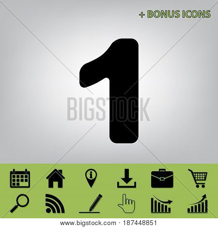 Number 1 sign design template element. Vector. Black icon at gray background with bonus icons at celery ones