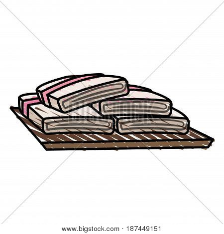 color crayon stripe cartoon set of folded towels vector illustration
