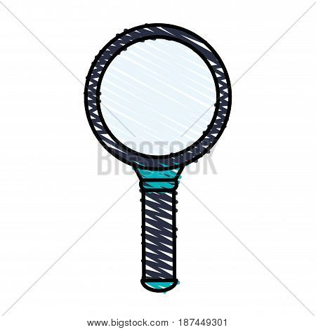 color crayon stripe cartoon magnifying glass with blue dark handle vector illustration