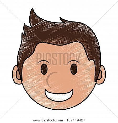 color pencil cartoon face smiling man with hairstyle vector illustration