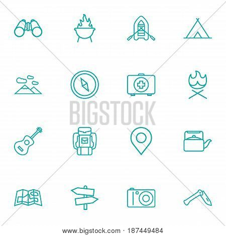 Set Of 16 Camping Outline Icons Set.Collection Of Mountains, Compass, Shelter And Other Elements.