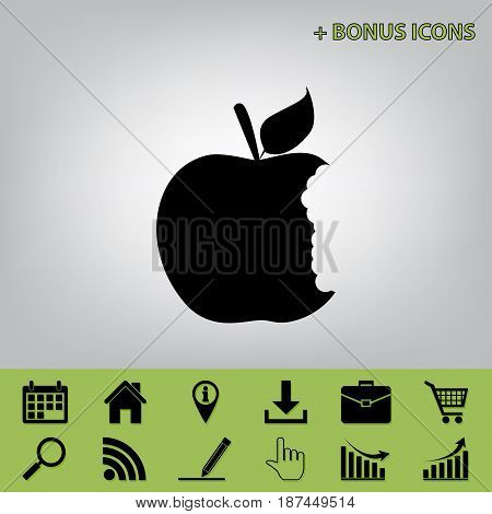 Bite apple sign. Vector. Black icon at gray background with bonus icons at celery ones