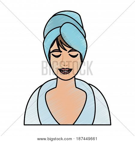 color pencil cartoon half body woman with towel in head vector illustration