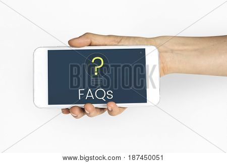Hand holding digital device network graphic overlay